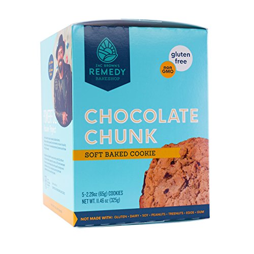 Zac Brown's Remedy Bake Shop Gluten-Free Cookies, non-GMO, Vegan, Dairy-Free, Soy-Free, Nut-Free, and Egg-Free (5 count) (Chocolate Chunk)