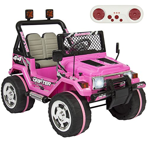 Eight24hours 12V Ride On Car Parent Remote Control Leather Seat Pink (Jeep Awd Bike)