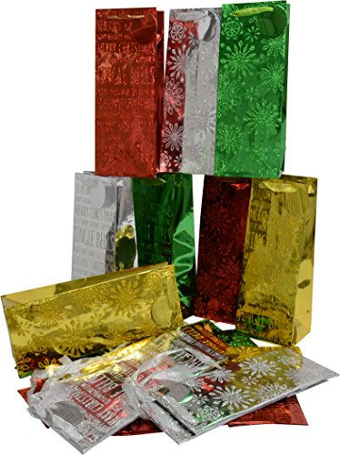 (24 Glitter Christmas foil Wine Gift bag; shiny colors with holiday sparkle;)