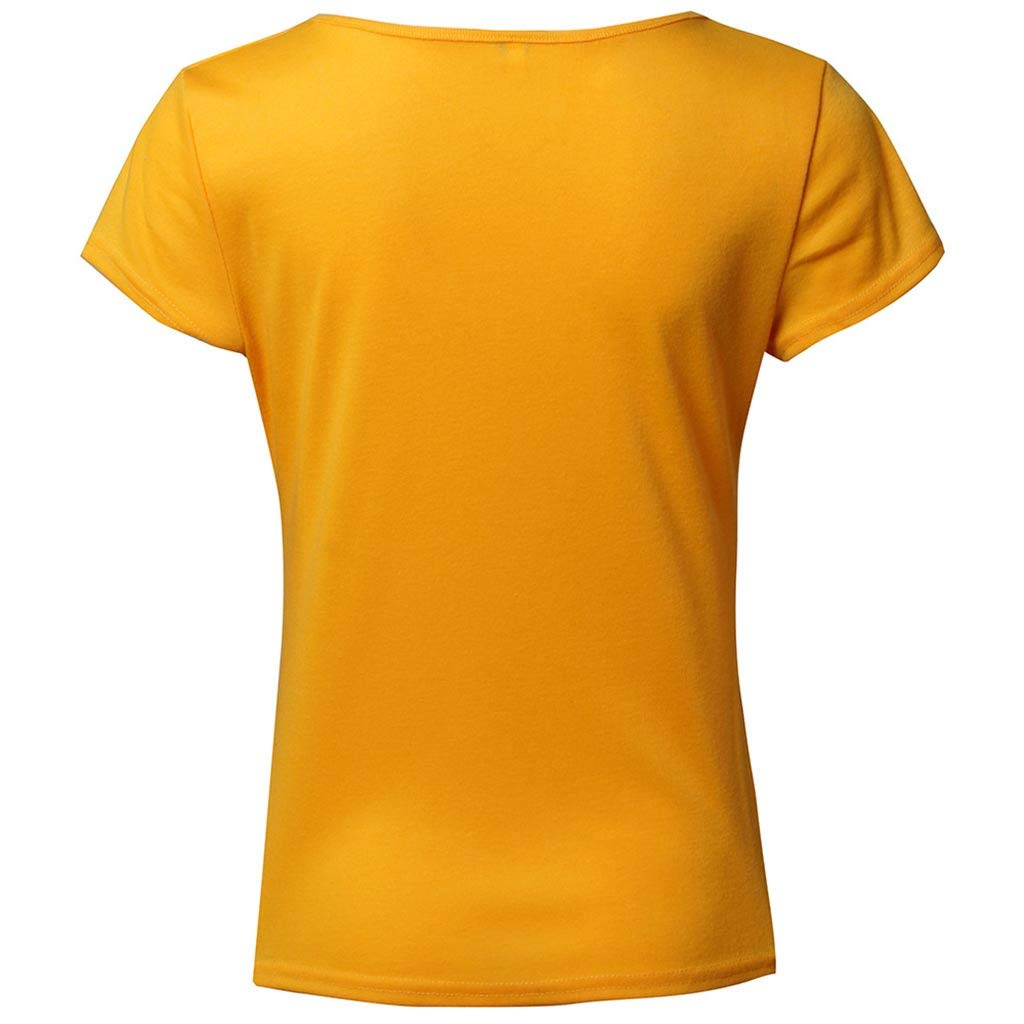 VLDO Tops for Womens V Neck Henley Shirts Short Sleeve Solid Button Down Basic Tees