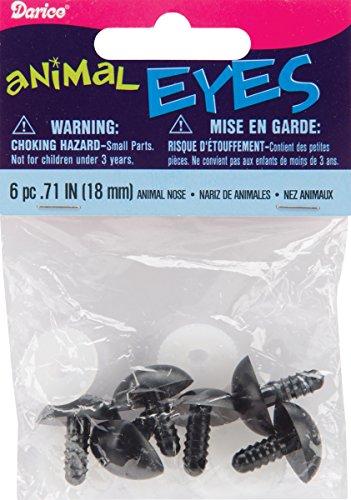 Darice Shank Back Animal Noses, 18mm, Black, 6-Pack