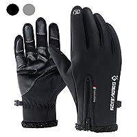 KEYMEN Cycling Gloves, Waterproof Windproof Touchscreen Compatible Full Finger Winter Warm Outdoor Bike Gloves