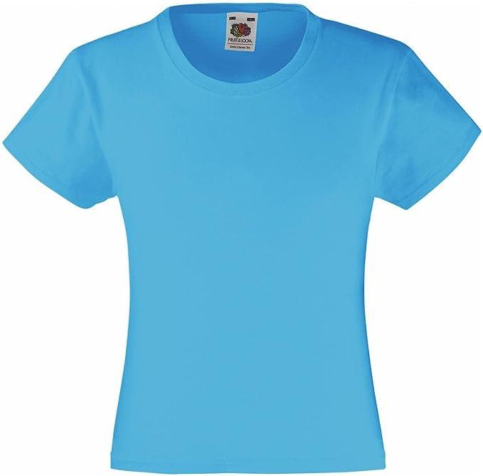 Fruit of the Loom Mädchen Iconic Kurzarm T-Shirt Kinder Kids Girl Shirt 104-164