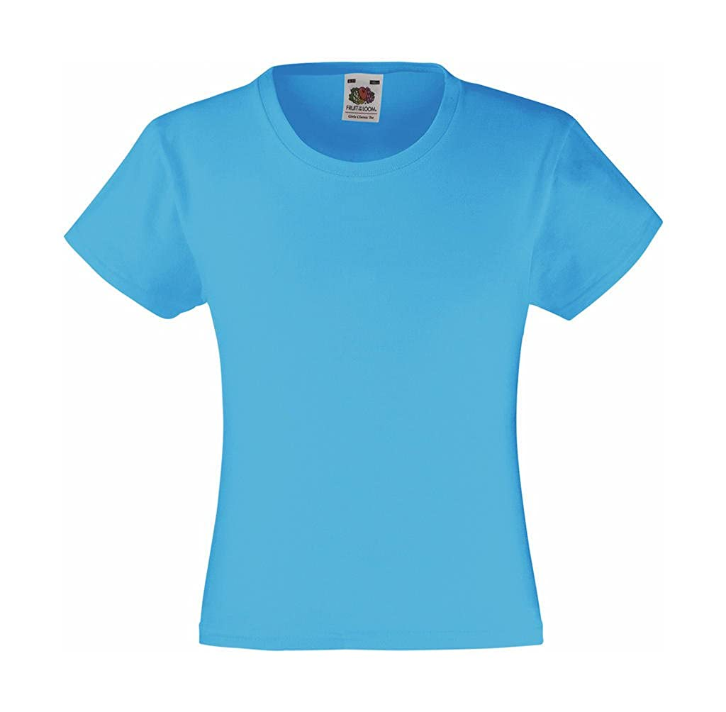 Fruit of the Loom T-Shirt 'Girls Value Weight T' 61-005-0, Farbe:Azure Blue; Größe:116