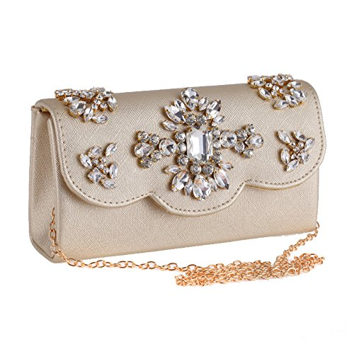 Women's Evening Bar Crystal With Chain Encrusted Clutch Shoulder PU Silver Clasp Leather Foldover Bag Casual rdr0FqI