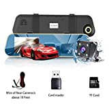 VICTONY Backup Camera Mirror Dash Cam Rear view Dual Lens 4.3 Inch Screen,1080P Full HD 170° Wide Angle Front Car Camera Video Recorder and with G-Sensor, Night Vision [8G Micro SD Card Included]