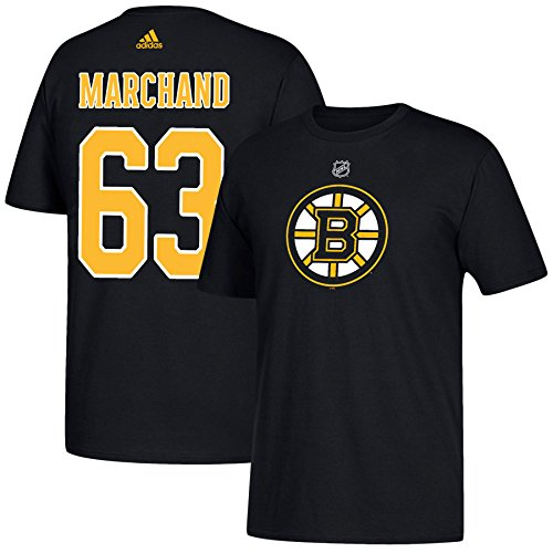 Brad Marchand Boston Bruins adidas Player Name & Number Black Tee Adult Large