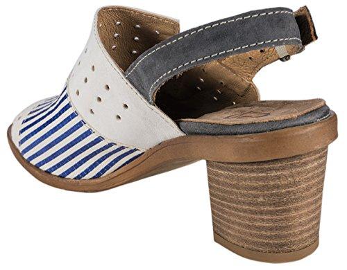Charme - Sandalias de vestir de Piel para mujer blanco/azul