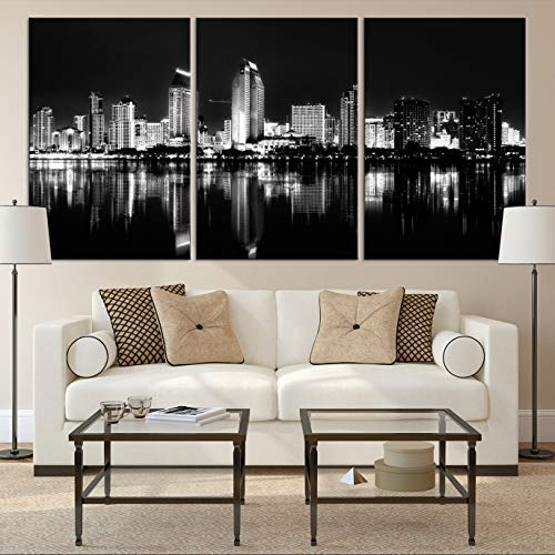 Black White San Diego Cityscape Wall Art Canvas Print For Living Room And Dining Decor