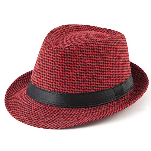 Trilby Hats for Men Fedoras - Red Hat Women Short Brim Panama Fedora Hat -