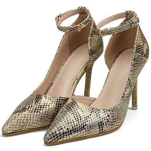 BIGTREE D'Orsay Snakeskin Stiletto Shoes Women Ankle Strap High Heel Dress Pumps Court Shoes Gold 8F0FVIl