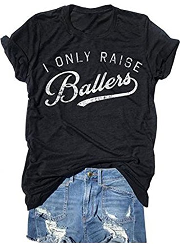 LONBANSTR Busy Raising Ballers I Only Raise Ballers Letter Print T-Shirt Tops (Large, Black) (Mom Volleyball Shirt)