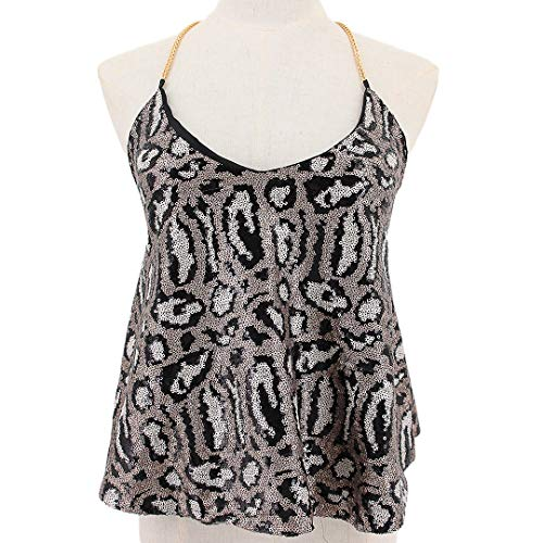 Mocure Women's Sexy Backless Crop Top Leopard Print Cami Tank Top Shirts Party Blouse Clubwear Silver ()