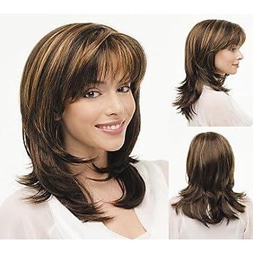 GSP-moda africanos americanos pelucas sintéticas longitud media peluca pelo ondulado pelucas naturales para las
