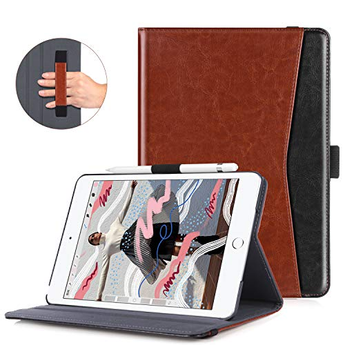 BENTOBEN iPad Mini 4 Case, iPad Mini 5 Case 2019, Premium PU Leather Slim Folio Stand Smart Cover Case with Auto Sleep/Wake Pocket Pencil Holder for 7.9-inch iPad Mini 5 / iPad Mini 4, Brown/Black