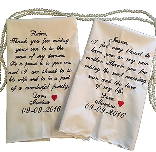 Father and Mother of the Groom Wedding Handkerchief Set by Wedding Tokens ()