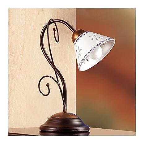 Lámpara de mesa en hierro forjado de 1 luz con placa de ...