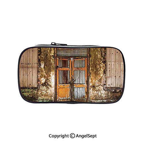 Big Capacity Pencil Case 1L Storage,Damaged Shabby House with Boarded Up Rusty Doors and Mold Windows Home Decor Multi 5.1inches,Desk Pen Pencil Marker Stationery Organizer with Zipper for School & O