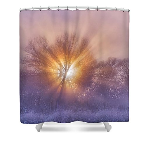 Pixels Shower Curtain (74'' x 71'') ''The Rising'' by Pixels