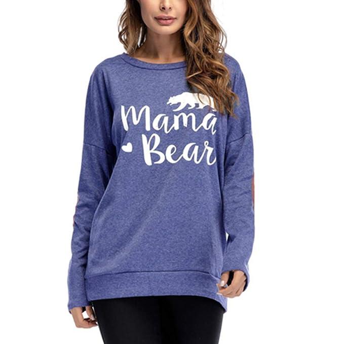 DFGTHRTHRT Camiseta Suelta de Manga Larga con Cuello Redondo y Manga Corta para  Mujer Mama Bear Tops de Jersey  Amazon.es  Ropa y accesorios c2580194b0d8