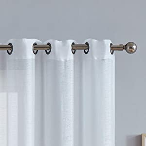 """AsaTex Pair of Light Ivory Color Medium Length 54 x 84 Inch Faux Linen Sheer Living Room Curtains. Grommet Window Panels Also Look Great in Kitchen, Dining, Boys or Girls Bedroom. KAR 54"""" x 84"""" Ivory"""