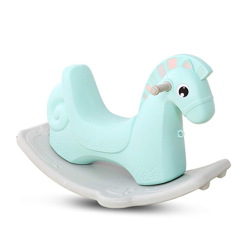 Cavallo a dondolo QIQIDEDIAN Trojan Shaker Toy plastica di Grande Spessore a Doppio Uso 1-6 Anni con la Musica (colore   verde)