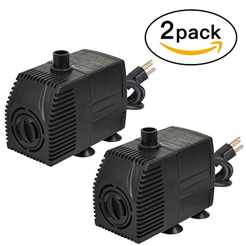 Simple Deluxe 160 GPH UL Listed Submersible Pump with 6' Cord, Water Pump for Fish Tank, Hydroponics, Aquaponics, Fountains, Ponds, Statuary, Aquariums & Inline, 2-pack