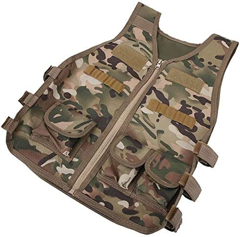 Alomejor Chaleco de Camuflaje para ni/ños Chaleco de Camuflaje para ni/ños Chaleco de Nylon Ej/ército Militar para Juegos Infantiles Entrenamiento