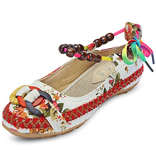 (KCatsy Trendy Round Toe Ankle Strap Tied Beads Floral Print Flat Heel Women Shoes White)