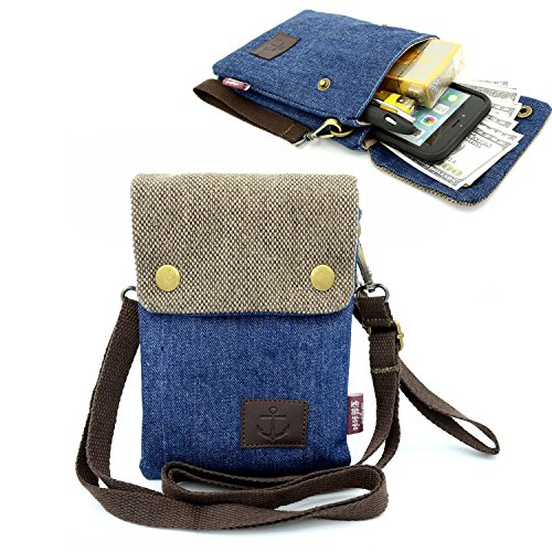 Dlames Canvas Cross-body Casual Shoulder Bag for iPhone X ,iPhone 8 Plus,iphone 6S plus ,7 Plus ,Samsung Galaxy S7 Edge,S8 Edge (Dark Blue) (Samsung Galaxy S3 Case Adorable)