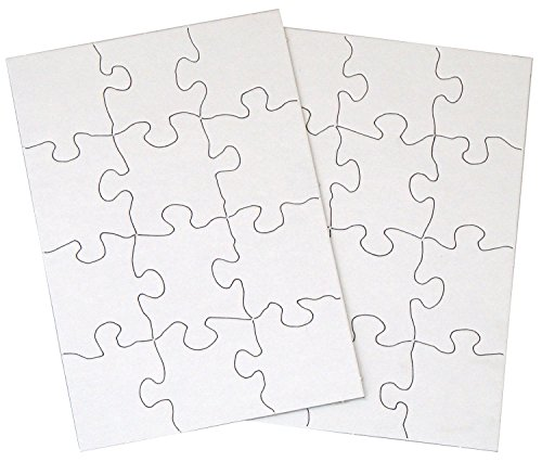 INOVART 12-Piece Blank Puzzle, 1/2 by 8-1/2-Inch, White ()