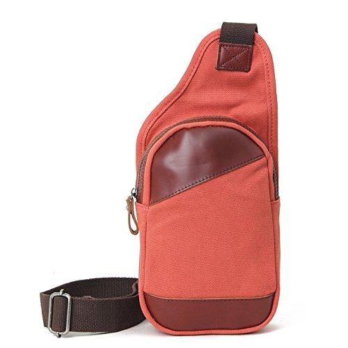 mefly Moda Nuevo capa de piel inclinado de bolso bandolera hombres aleatorio Trend bolsa del pecho, negro Tangerine