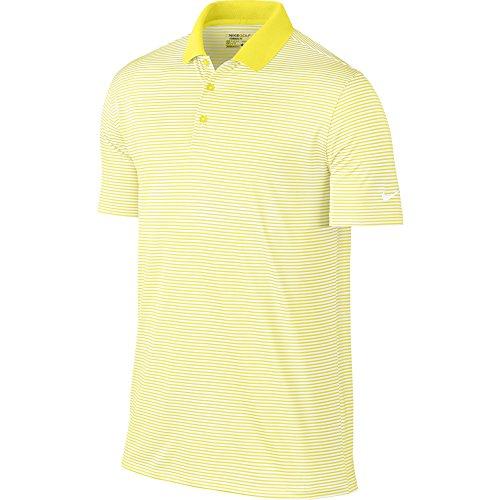 Nike Golf Victory Mini Stripe Polo (Yellow Strike/White) (Medium)