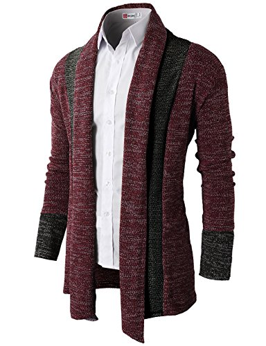 H2H Men's Ruffle Shawl Collar Sleeveless Long Cardigan RED US XL/Asia XXL (KMOCAL012)