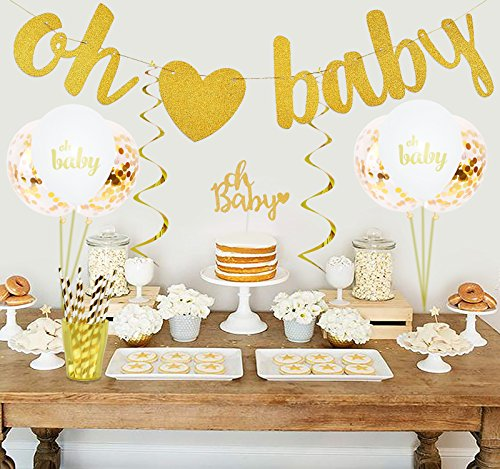 Baby Shower Decorations - Gender Reveal Birthday Party Supplies - 1 Banner, 5 Oh Baby & 5 Gold Confetti Balloons, 4 Cake Toppers, 12 Paper Straws & 6 Hanging Swirls -