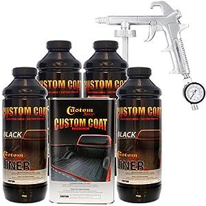 5. Custom Coat BLACK 4 Liter Urethane Spray-On Truck Bed Liner Kit with Custom Coat Spray Gun with Regulator