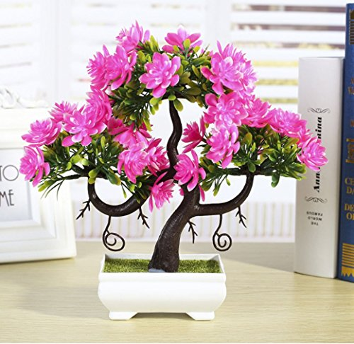 C&L Simulation flower bonsai simulation plant small potted home holiday flower ornaments ornaments (Pink)