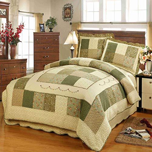 Wowelife Patchwork Quilt 3-Pieces Patchwork Bedspreads Handmade Cotton Quilt Sets, Queen Size (Rural Green, Queen)