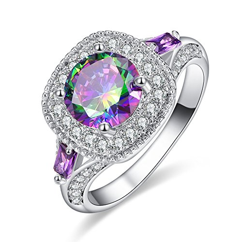Psiroy 925 Sterling Silver Round Created Rainbow Topaz Filled Halo Anniversary Ring for Women