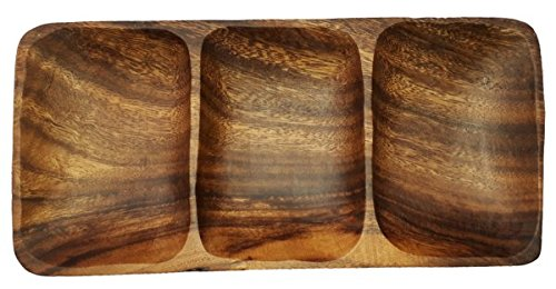 SDS Home Imports Handcrafted Hawaiin Latin Style Acacia Wood 3 Hole Sauce Bowl Kitchen Tray 9'x4.5'x1' by SDS Home Imports
