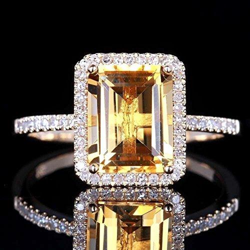 Diamonds Sapphires Gift Set (Yuren Charming Fashion Women Jewelry 925 Sterling Silver Princess Cut Citrine Wedding Jewelry Ring Gift Size 6-10 (US Code 8))