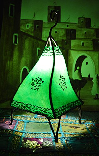 Moroccan Hand made Leather lamp henna tattoo African Green
