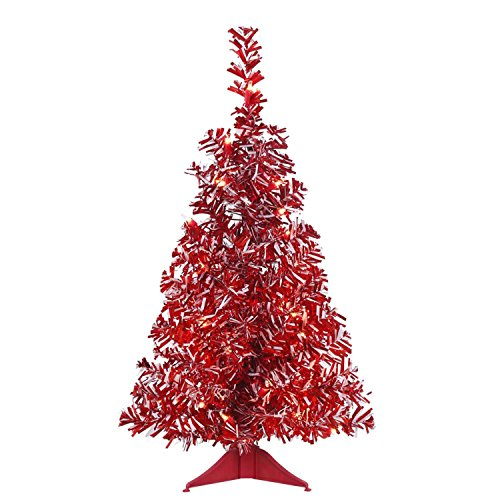 (Vickerman Unlit Red and White Candy Cane Artificial Wide Cut Tinsel Christmas Tree, 2' x)