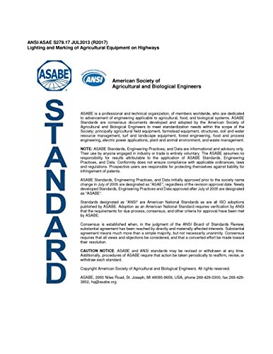 Read Online ANSI/ASAE S279.17 JUL2013 (R2017) Lighting and Marking of Agricultural Equipment on Highways: American Society of Agricultural and Biological Engineers pdf epub