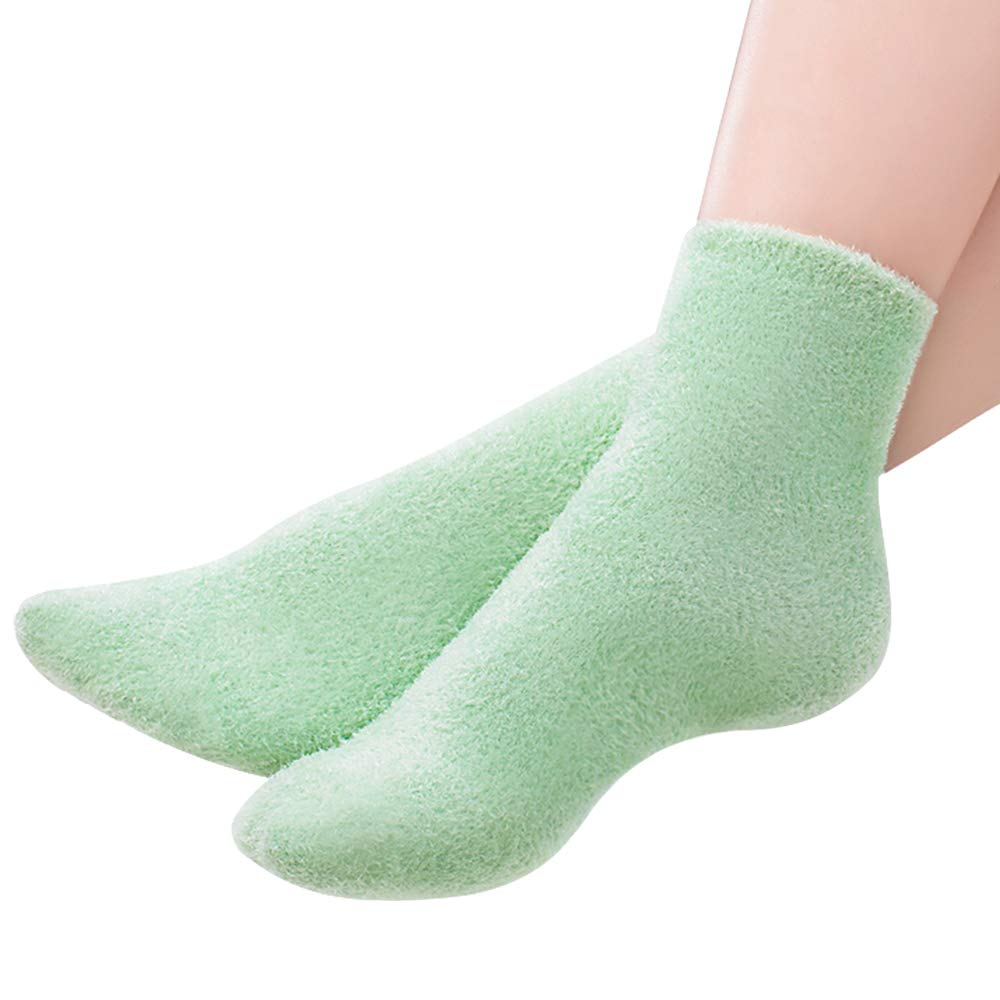 Codream Gel Spa Moisturizing Socks Whitening Exfoliating Green Mask Moisturizing Socks for Dry Cracked Heels Repair Treatment Skin Care Fits Most Women Size