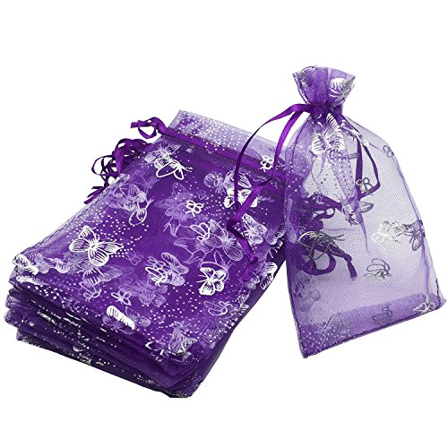 YIJUE 100pcs 4x6 Inches Drawstrings Organza Gift Candy Bags Wedding Favors Bags (Butterfly with Purple)