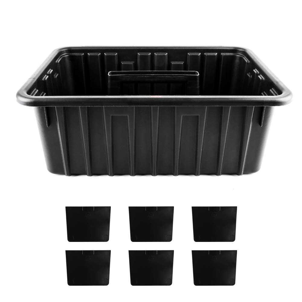 SGCB Deluxe Utility Caddy Organizer DIY Divided Plastic Caddy Storage Tote Portable 6 Compartment Bucket Shower Cleaning Janitorial Caddy w/ 6 Dividers Large Capacity for Shower Supplies Tool Storage