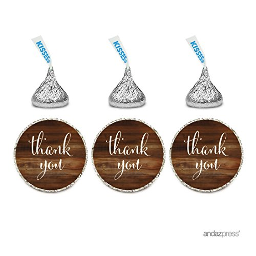 Andaz Press Chocolate Drop Labels Stickers, Thank You, Rustic Wood Print, 216-Pack, For Wedding Birthday Party Baby Bridal Shower Hershey's Kisses Party Favors Decor Envelope Seals ()