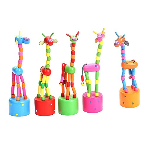Cianowegy 5Pcs Kids Intelligence Toy Wooden Dancing Giraffe
