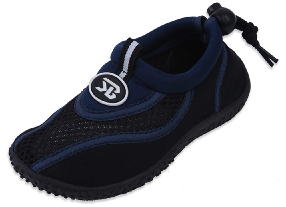 Cambridge Select Kids' Slip-On Quick Dry Mesh Non-Slip Drawstring Water Shoe,13 M US Little Kid,Navy